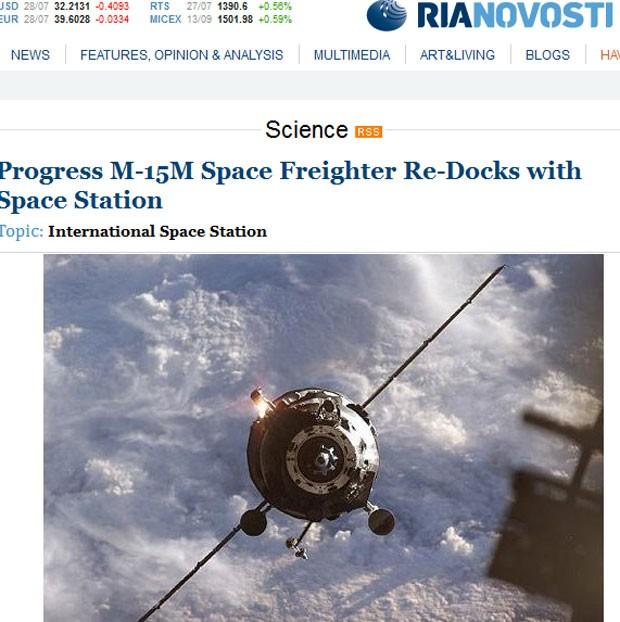 A Progress M-15M se aproxima do cargueiro (Foto: Reprodução)