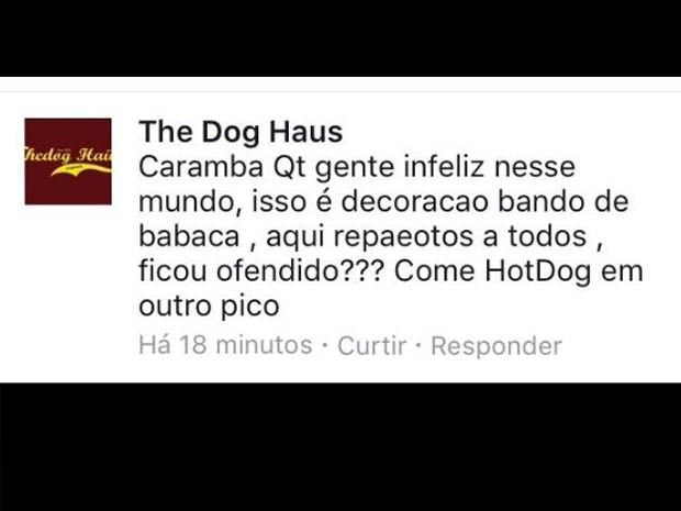 """Post da lanchonete """"The Dog Haüs"""" (Foto: Reprodução/Facebook)"""