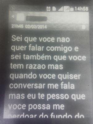 Mensagem enviada pelo suspeito após se separar da mulher (Foto: Divulgação/ PC)
