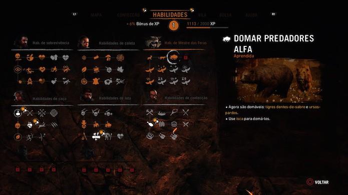 Far Cry Primal: fique de olho no Menu de Feras para desbloquear novas habilidades (Foto: Reprodução/Victor Teixeira)