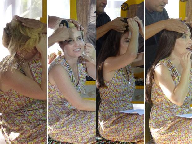 Angélica se transformando em Ruth de Mulheres de Areia (Foto: TV Globo/Estrelas)