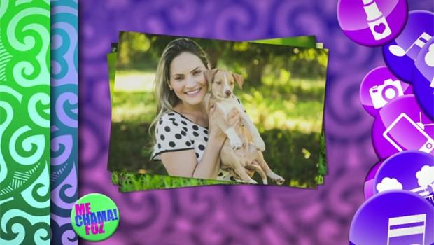 Grazi Batista posa para foto ao lado do cachorrinho Davi (Foto: Divulgação/RPC)