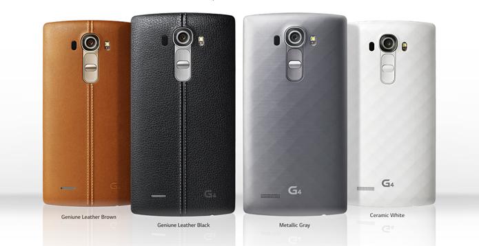 LG G4 tem diversas opções de cores e pode ter couro ou plástico na traseira (Foto: Divulgação)