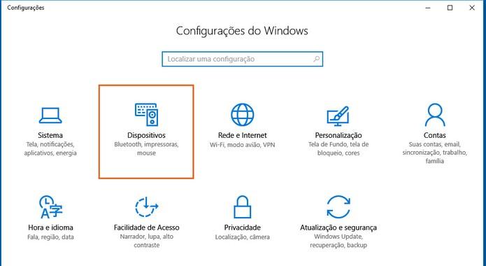 Acesse a categoria de dispositivos no Windows 10 (Foto: Reprodução/Barbara Mannara)