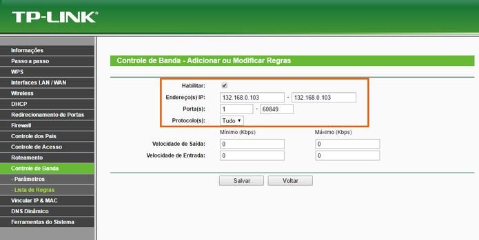 Adicione o número de IP e portas para habilitar o controle de banda na máquina (Foto: Reprodução/Barbara Mannara)