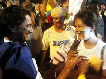 Casal de manifestantes em Cuiabá está junto há quatro anos (Foto: Dhiego Maia/G1)
