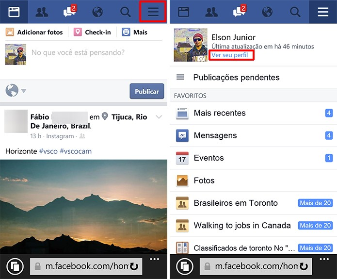 Como mudar a foto de capa do Facebook no Windows Phone