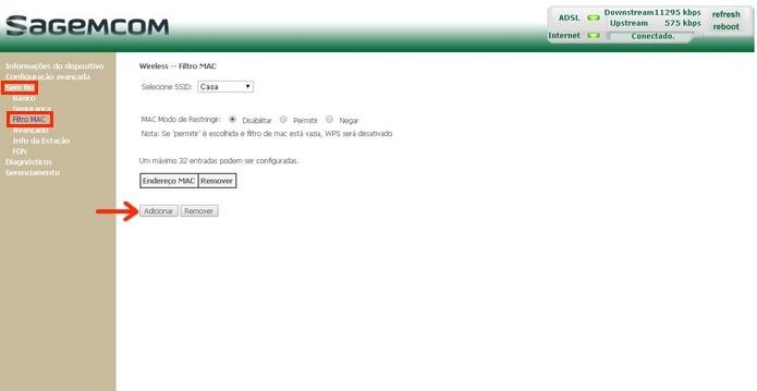 Tela de inclusão de endereços MAC a serem bloqueados (Foto: Reprodução/Raquel Freire)