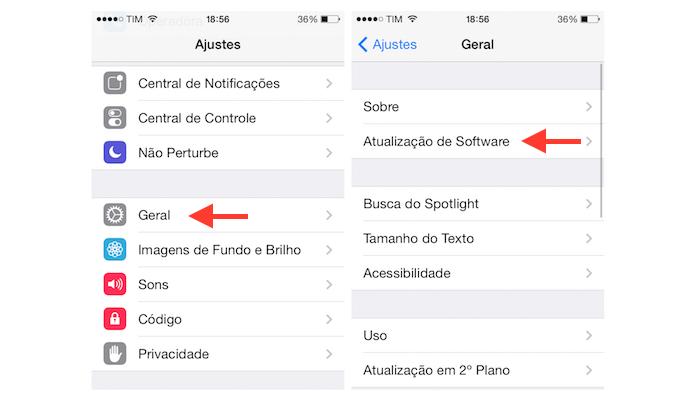 Verificando se há alguma atualização de software a ser instalado no iOS 7 do iPhone 4 (Foto: Reprodução/Marvin Costa)
