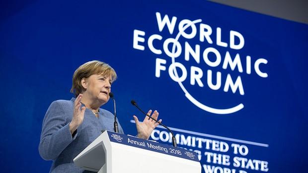 Angela Merkel, no Fórum Econômico Mundial (Foto: World Economic Forum / Ciaran McCrickard)