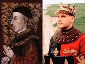 Retrato de Henrique V, de autor desconhecido, e Kenneth Branagh em 'Henrique V'