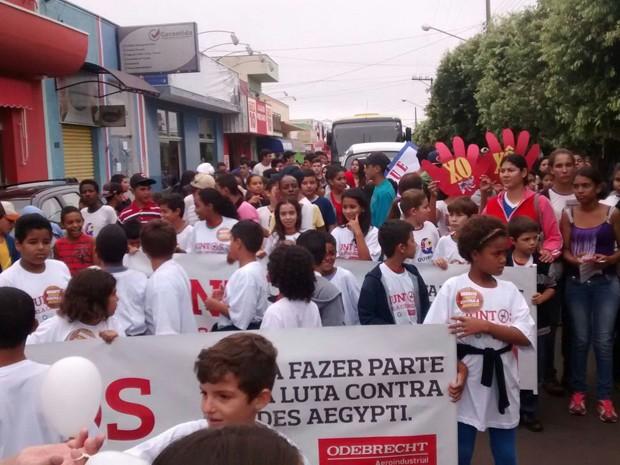 Passeata foi realizada para conscientizar contra a dengue (Foto: João Henrique de Oliveira)