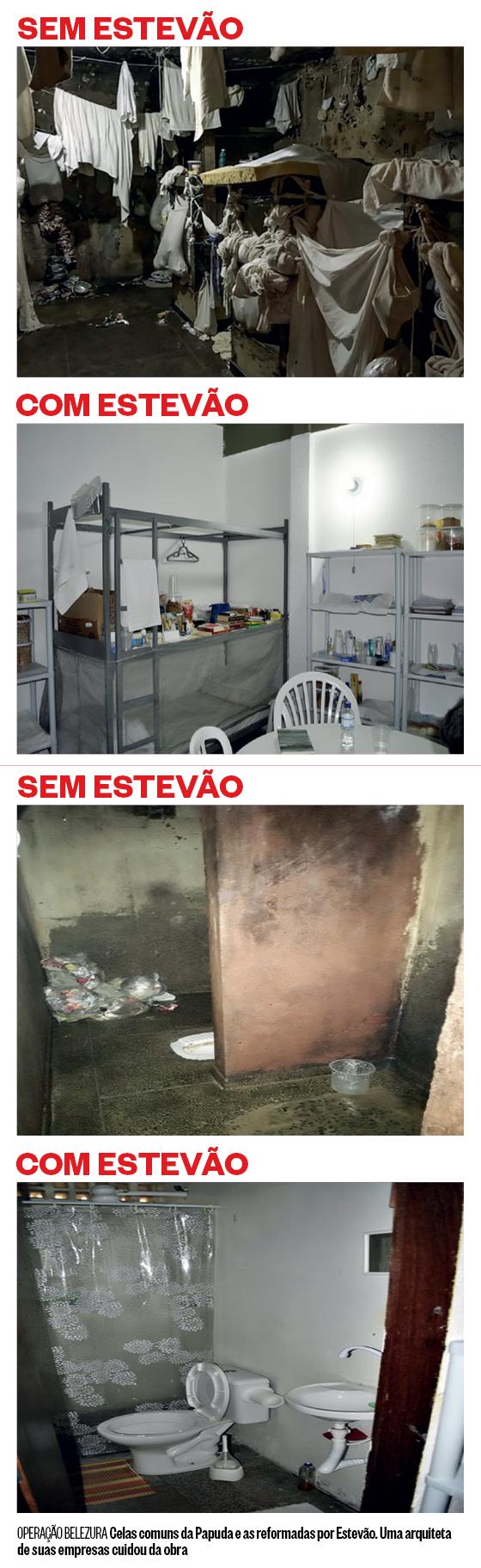 OPERAÇÃO BELEZURA Celas comuns da Papuda e as reformadas por Estevão. Uma arquiteta  de suas empresas cuidou da obra (Foto: Reprodução)