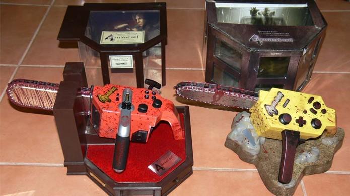 Joystick serra elétrica do PlayStation 2 à esquerda e do GameCube à direita (Foto: Reprodução/racketboy)