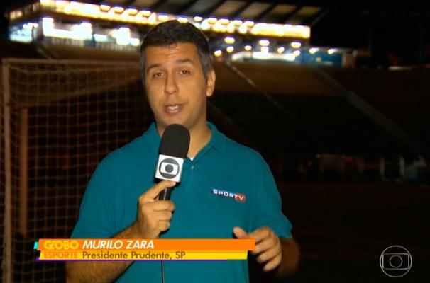 Murilo Zara em reportagem para o Globo Esporte (Foto: Reprodução Globo)