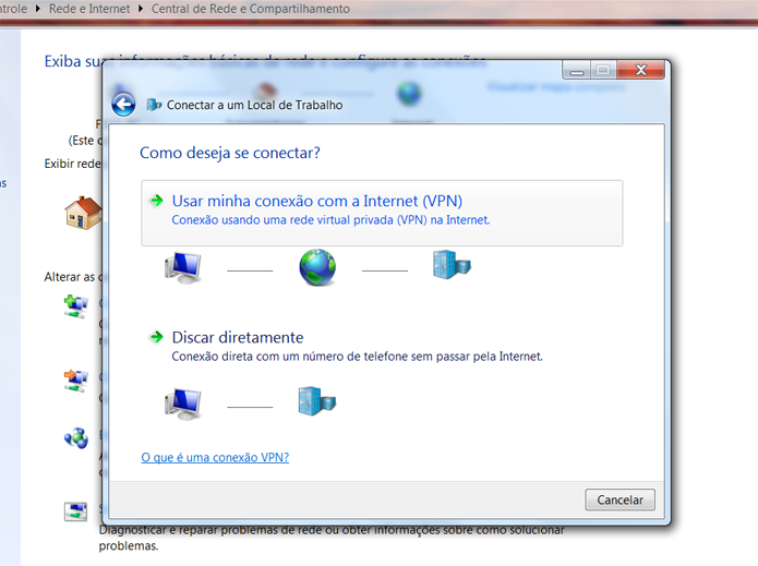 Nesse passo, não há mistério: apenas escolha a opção vinculada à criação da VPN (Foto: Reprodução/Filipe Garrett)