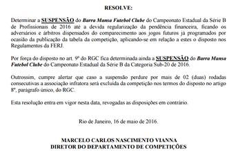 Clube do Rio passa cheque sem fundo e volta a ser suspenso da Série B