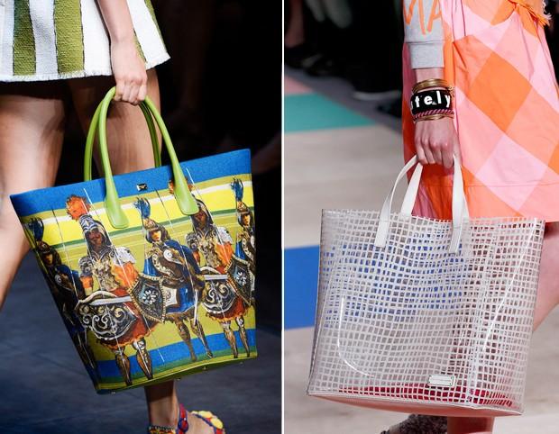 Shopping bag: enquanto Dolce&Gabanna mostrou um modelo superestampado, a Marc by Marc Jacobs também apresentou uma proposta bem verão, mas transparente e com print xadrez (Foto: Reprodução)
