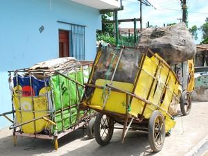 Agentes recolhem material reciclável em carrinhos (Foto: Rizemberg Felipe/Jornal da Paraíba)