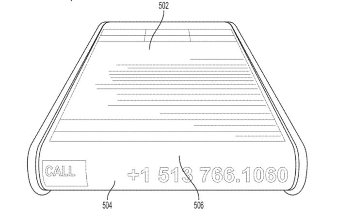 Display secundário da Microsoft pode exibir informações como ligações e nível de bateria (Foto: Reprodução/USPTO)