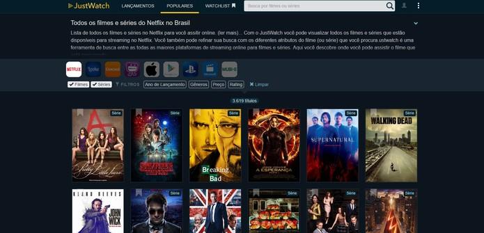 Just Watch é uma plataforma online que mostra os lançamentos do Netflix (Foto: Reprodução/Barbara Mannara)