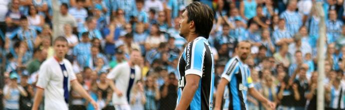 Marcelo Moreno jogo-treino Grêmio gramadense (Foto: Lucas Rizzatti/Globoesporte.com)