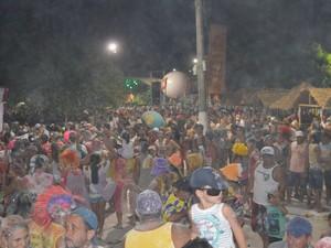 Com vários acessórios, foliões se concentraram na Praça do Sairé (Foto: Adonias Silva/G1)