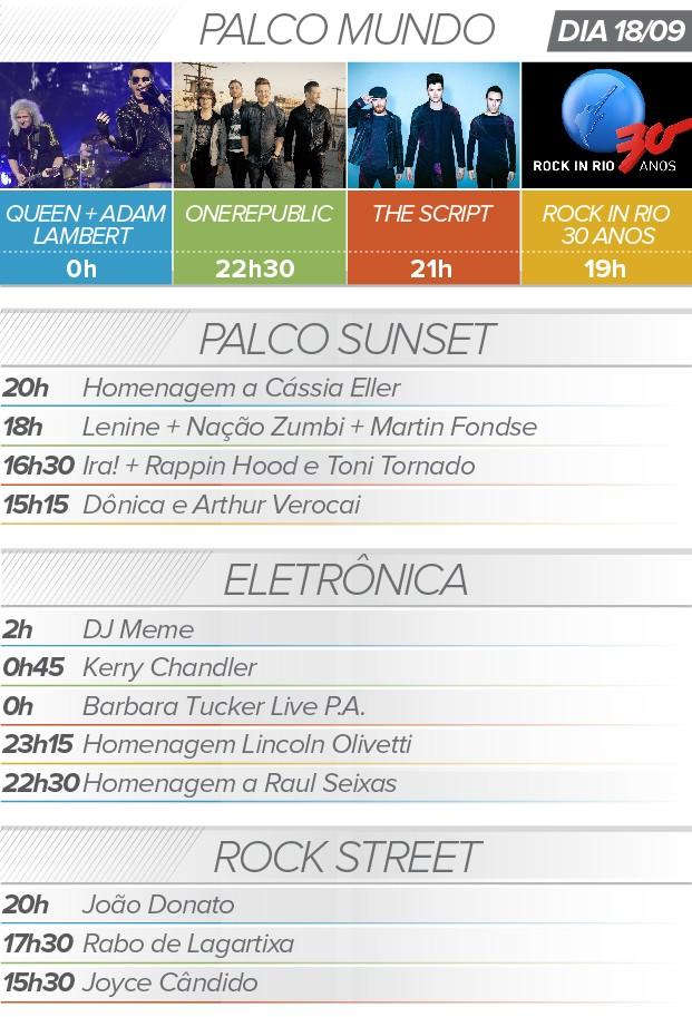 Rock in Rio: 18 de setembro queen one republic programação atrações agenda (Foto: G1)