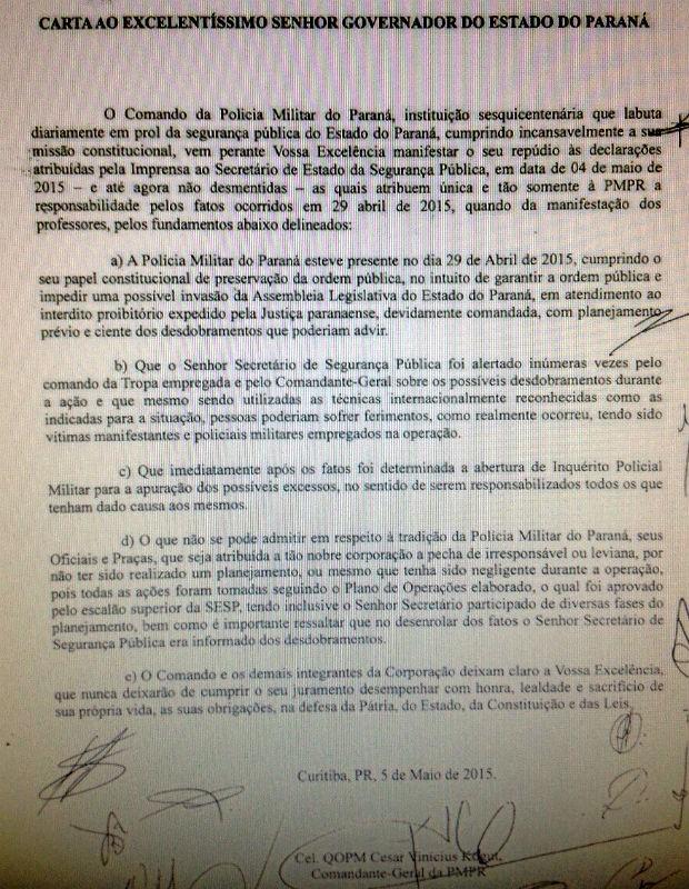 Carta de Kogut critica postura de Francischini (Foto: Reprodução)