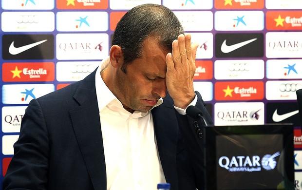 Sandro Rosell coletiva Barcelona saída de Tito Vilanova (Foto: EFE)