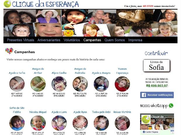 Clique da Esperança arrecada fundos para crianças com doenças graves (Foto: Reprodução/Cliquedaesperanca.com)