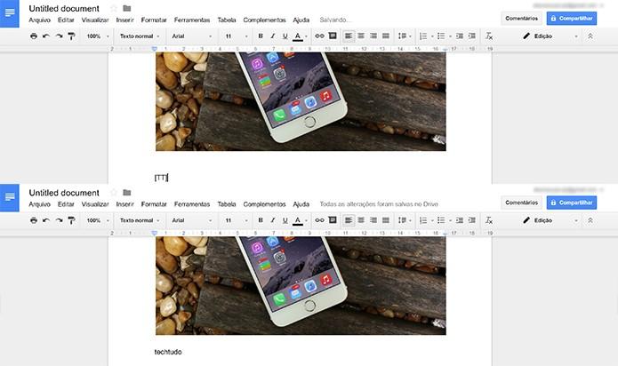 Termo digitado sera substituído por palavra por extenso no Google Docs (Foto: Reprodução/Elson de Souza)