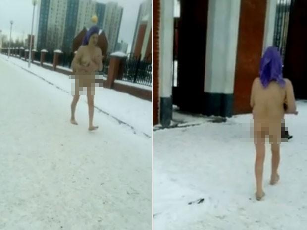 ulher surpreendeu ao caminhar nua na neve em cidade na Sibéria (Foto: Reprodução/YouTube/Big World)