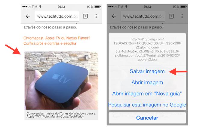 Salvando uma imagem da internet no iPhone (Foto: Reprodução/Marvin Costa)