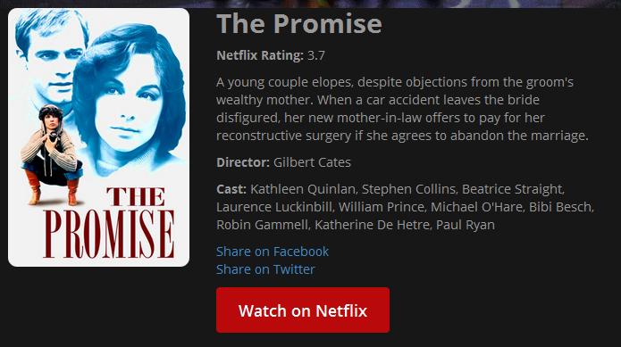 Botão Watch on Netflix leva o usuário para assistir o filme no Netflix (Foto: Reprodução/Edivaldo Brito)
