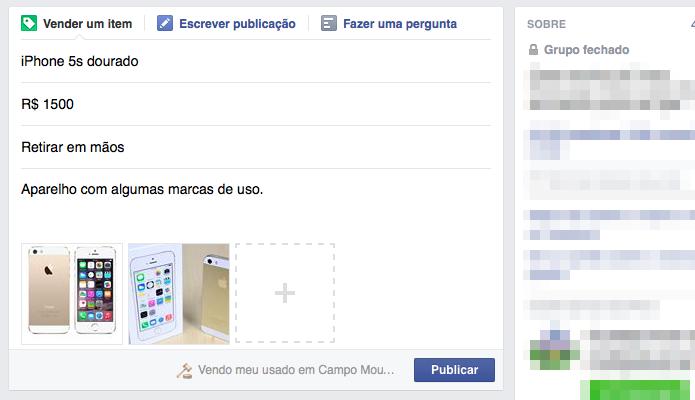 Publicando anúncio em grupos do Facebook (Foto: Reprodução/Helito Bijora)