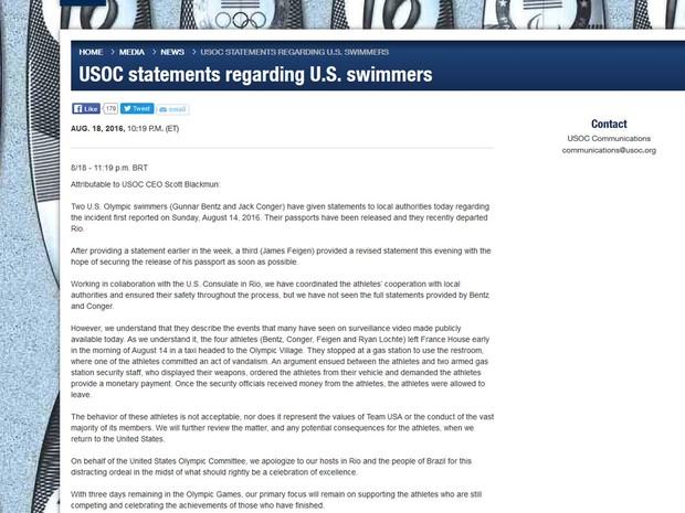 Comitê Olímpico dos EUA pede desculpas por conduta de nadadores (Foto: Reprodução / Comitê Olímpico dos Estados Unidos )