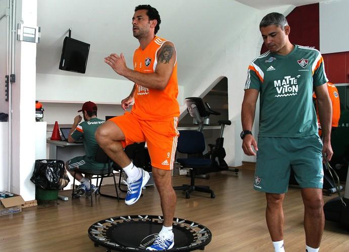 Fred trabalhou na academia no clube, na manhã desta quarta (Foto: Nelson Perez / Fluminense F.C.)