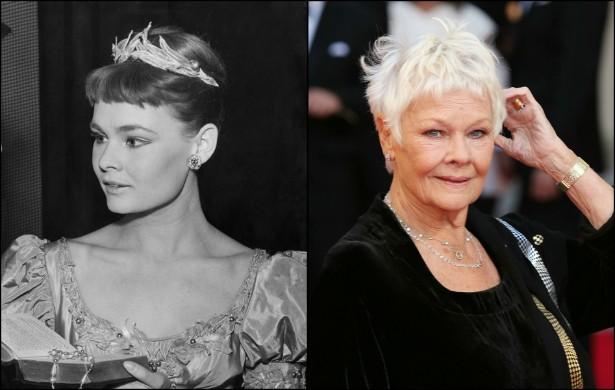 Judi Dench aos 22 anos numa peça de teatro, em setembro de 1957, e agora, com quase 60 anos de vida. (Foto: Getty Images)