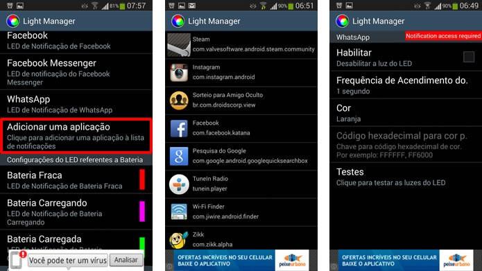 """Clicando na opção """"Adicionar uma aplicação"""" você poderá criar notificações para apps que ainda não estejam listados no Light Manager (Foto: Reprodução/Daniel Ribeiro)"""