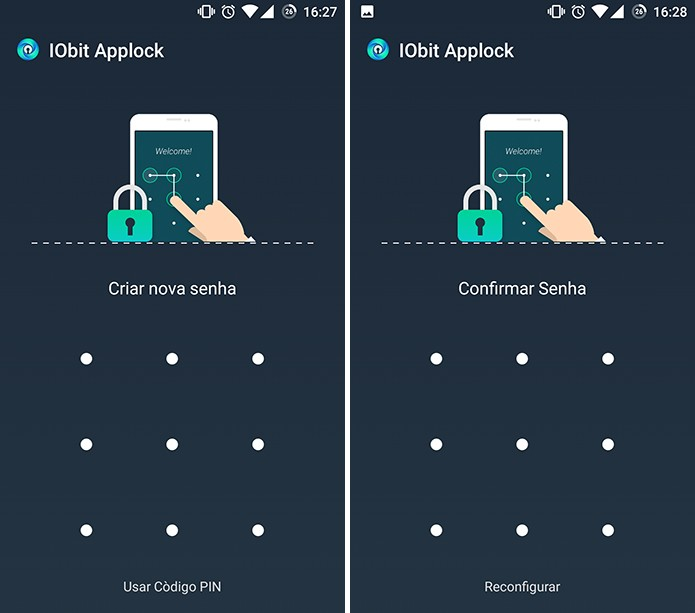 IObit App locker solicita que usuário crie padrão ou código para bloquear apps (Foto: Reprodução/Elson de Souza)