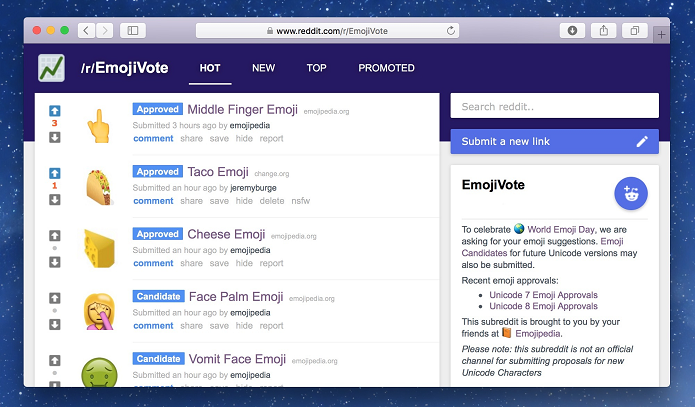 Votação acontece no site Reddit (Foto: Divulgação/Emojipedia)