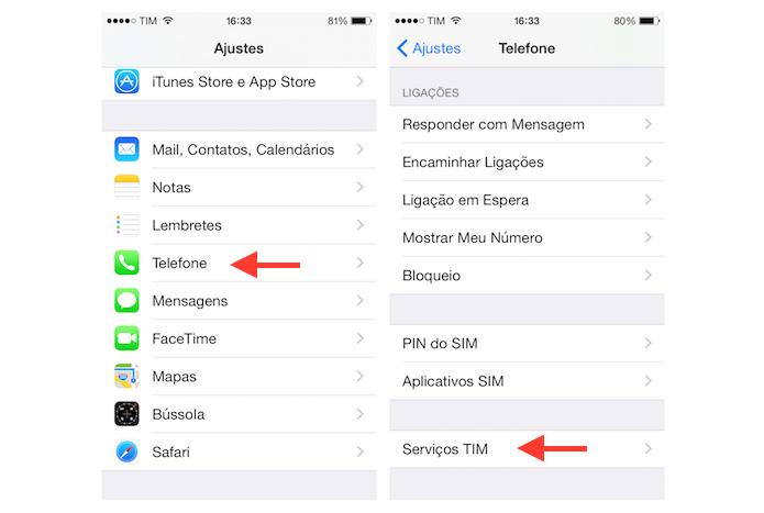 Acessando a página de serviços da operadora de celular no iPhone (Foto: Reprodução/Marvin Costa)