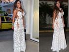 Nicole Bahls repete vestido de R$ 18 mil para exibição de 'Em família'