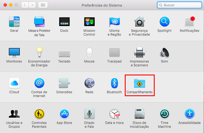 Acesse as preferências de compartilhamento do Mac  (Foto: Reprodução/Paulo Alves)