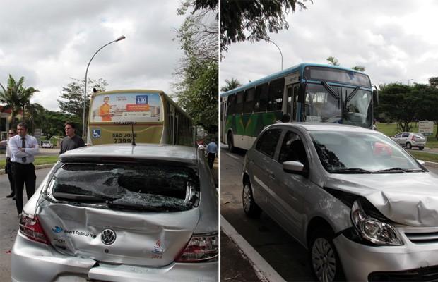 Carro ficou entre dois ônibus em colisão na quadra 206 Sul, em Brasília (Foto: Jamila Tavares / G1)