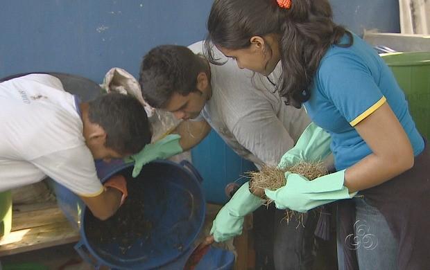 Jovens aprendem a fazer adubo (Foto: Amazonas TV)
