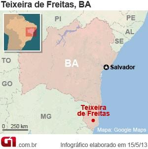 Mapa acidente na BR-101, em Teixeira de Freitas, na Bahia (Foto: Arte/G1)