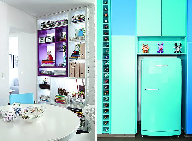 A estante vazada divide os ambientes e valoriza a iluminação natural | A mesma cor aparece em gradações diferentes nos armários da cozinha (Foto: Maíra Acayaba e Edu Castello/ Editora Globo)