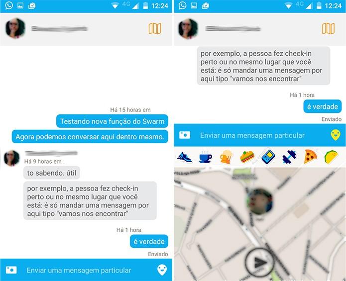 App permite enviar texto, foto e mapa com sua localização (Foto: Reprodução)